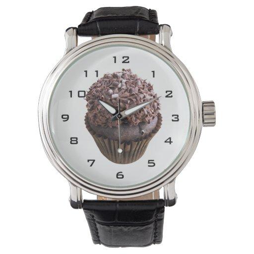 Reloj de la magdalena del chocolate del rizo del