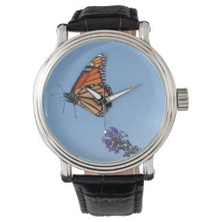 Reloj de la mariposa de monarca en vuelo