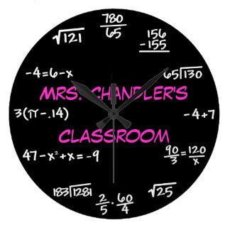 Reloj de la matemáticas de la pizarra de la sala d