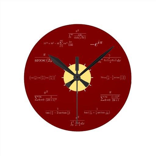 Reloj de la matemáticas (fondo rojo)