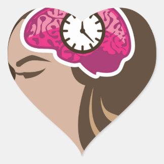 Reloj de la mente pegatina en forma de corazón