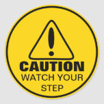 Reloj de la muestra de la precaución su paso pegatina