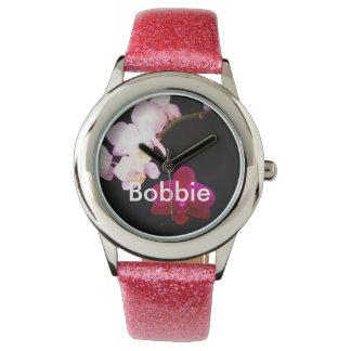 Reloj de la orquídea del personalizar con la banda