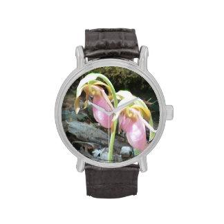 reloj de la orquídea del rosa del deslizador de se