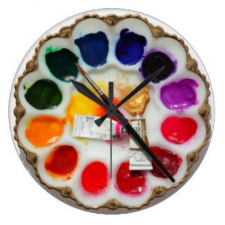 ¿Reloj de la paleta de la acuarela del artista qué Reloj Redondo Grande