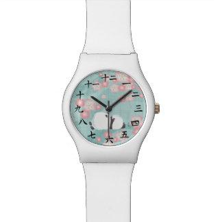 Reloj de la panda del zen (flores del ciruelo)