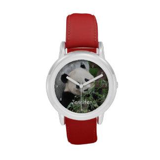 Reloj de la panda gigante de los niños, correa roj