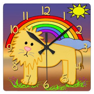 Reloj de la pared cuadrado del niño lindo del león