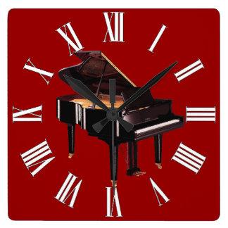 Reloj de la pared del amante de la música del pian