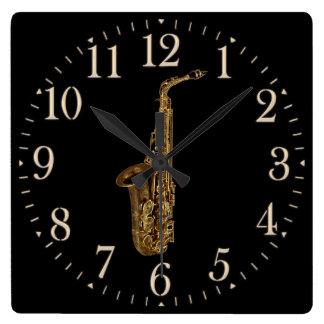 Reloj de la pared del amante de la música del saxo