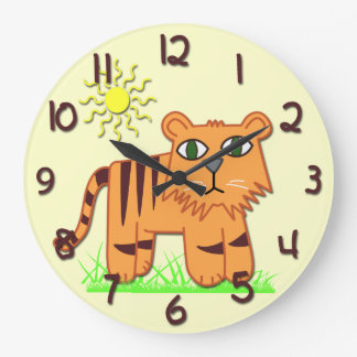 Reloj de la pared redondo del niño lindo del tigre