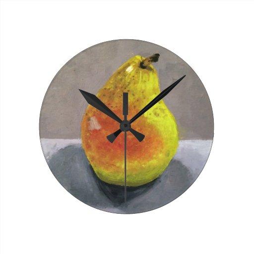 Reloj de la pintura de la pera