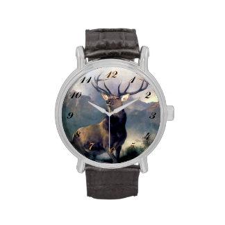 Reloj de la pintura del animal salvaje de los alce