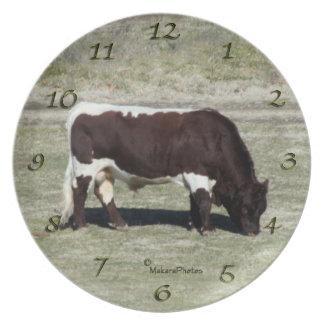 Reloj de la placa del bravo del toro de Pinzgauer Plato Para Fiesta