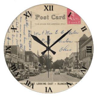 Reloj de la postal de Blanchester Ohio - calle pri