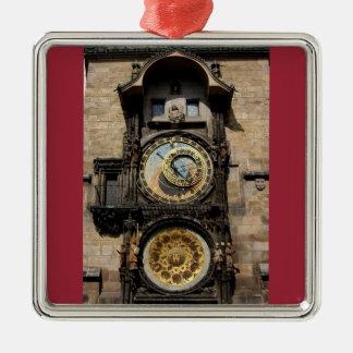 Reloj de la República Checa de Praga Adorno Cuadrado Plateado