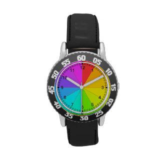 Reloj de la rueda de color del arco iris del
