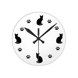 Reloj de la silueta del gato