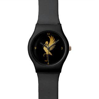 Reloj de la silueta del pájaro de la cigüeña