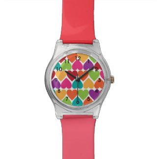 Reloj de la tarjeta del día de San Valentín de los