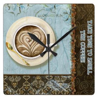 Reloj de la taza del Cappuccino de Java del café d