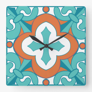 Reloj de la teja de Talavera - naranja y turquesa