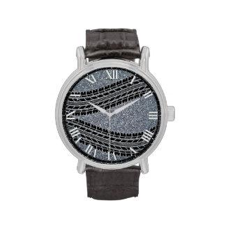 Reloj de la textura de la grava de las pisadas del