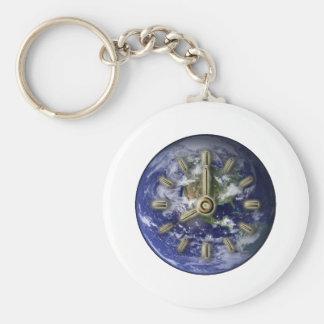 Reloj de la tierra llavero personalizado