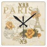 Reloj de la torre Eiffel de los rosas de París del