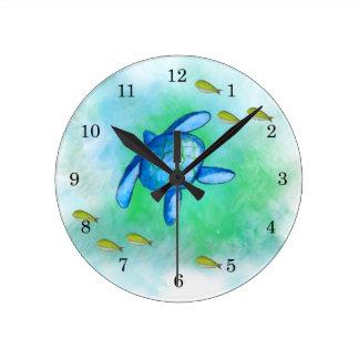 Reloj de la tortuga de mar de la acuarela