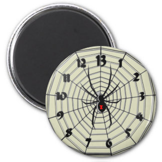 Reloj de la viuda negra de 13 horas en marco imán redondo 5 cm