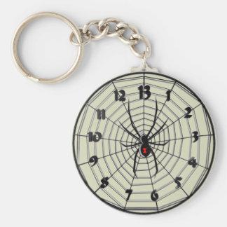 Reloj de la viuda negra de 13 horas en marco llavero redondo tipo pin