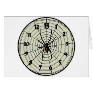 Reloj de la viuda negra de 13 horas en marco tarjeta de felicitación