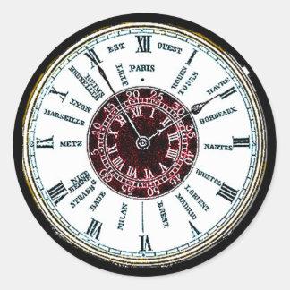 Reloj de la zona horaria del vintage pegatina redonda