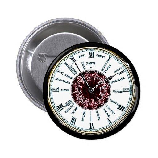 Reloj de la zona horaria del vintage pins