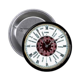 Reloj de la zona horaria del vintage pin redondo de 2 pulgadas