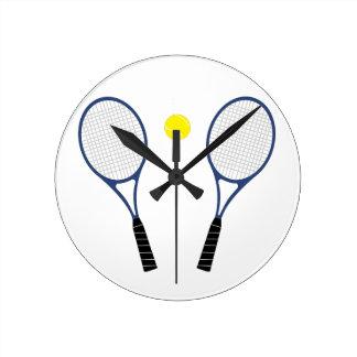 Reloj de las estafas de tenis y de pared de la