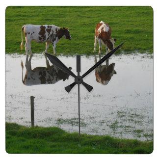 Reloj de las reflexiones de las vacas
