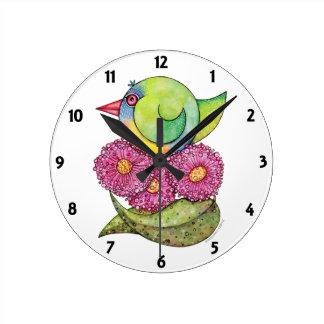 """""""Reloj de Lorikeet del arco iris"""" Reloj Redondo Mediano"""