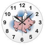 ¡Reloj de los cerdos del vuelo - cerdo rosado lind