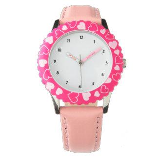 Reloj de los corazones del rosa del acero