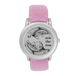 Reloj de los delfínes I del carbón de leña