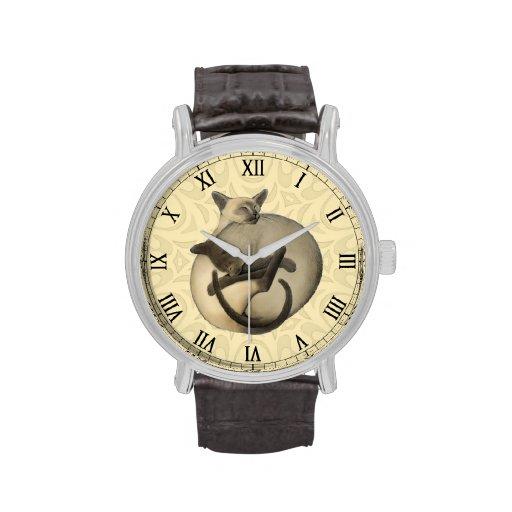 Reloj de los gatos siameses de Yin Yang