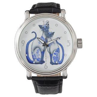 """""""Reloj de los gatos siameses del sauce azul"""" Reloj"""