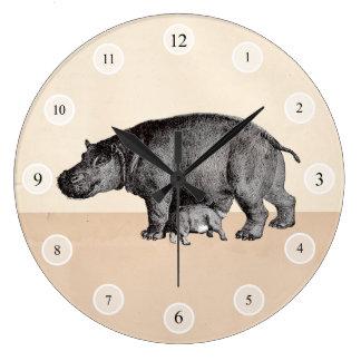 Reloj de los hipopótamos de la madre y del bebé