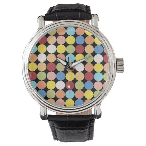 Reloj de los lunares del multicolor