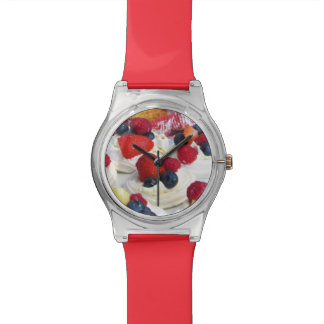 Reloj de los merengues de la fruta fresca