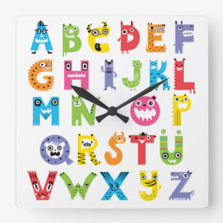 Reloj de los monstruos del alfabeto