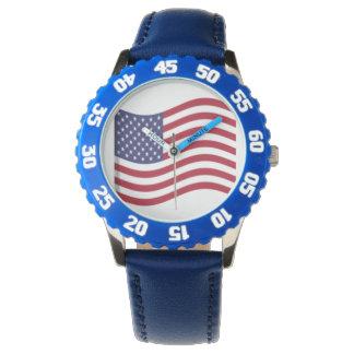 Reloj de los niños de la bandera americana