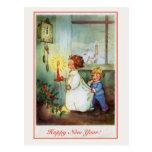 Reloj de los niños de la Feliz Año Nuevo del vinta Tarjetas Postales